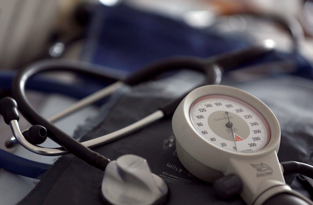 A photo illustration shows a stethoscope and blood-pressure machine of a French general practitioner displayed in a doctor's office in Bordeaux Jan. 7, 2015. (Reuters/Regis Duvignau)
