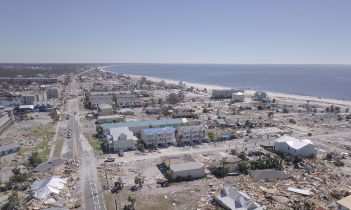 Aerial photo shows damaged and destroyed homes after Hurricane Michael smashed into Florida's northwest coast in Mexico Beach, Florida, on Oct. 12, 2018. (Dronebase/Reuters)