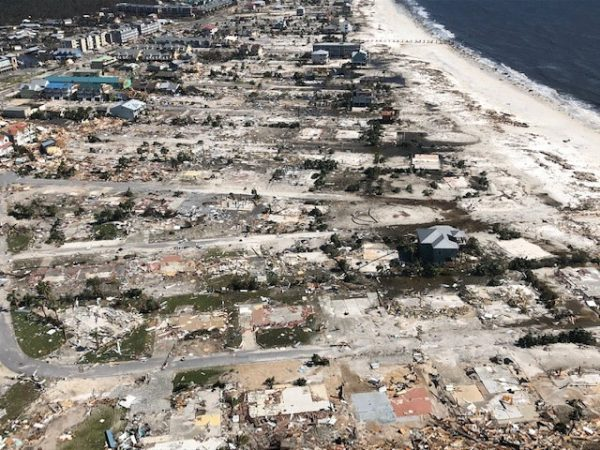 Damaged and destroyed buildings aerial