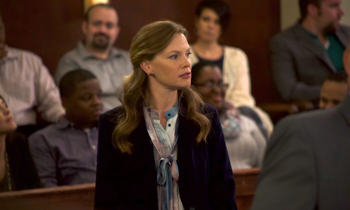 """Sarah Jane Morris as Assistant District Attorney Lexi McGuire on the set of """"Gosnell: The Trial of America's Biggest Serial Killer."""" (Courtesy Hat Tip Films)"""