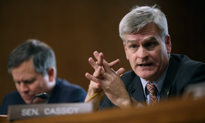 Sen. Bill Cassidy (R-LA) speaks at a hearing about the potential modernization of the Strategic Petroleum Reserve in the Dirksen Senate Office Building on Capitol Hill, Washington, DC, Oct. 6, 2015. (Chip Somodevilla/Getty Images)