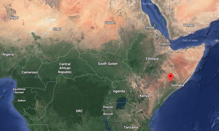 A suicide bomber detonated in a restaurant in the Somali town of Baidoa and another blast struck a hotel nearby, leaving at least 16 people dead and more than 30 wounded, authorities said Oct. 13, 2018. (Screenshot/Google maps)