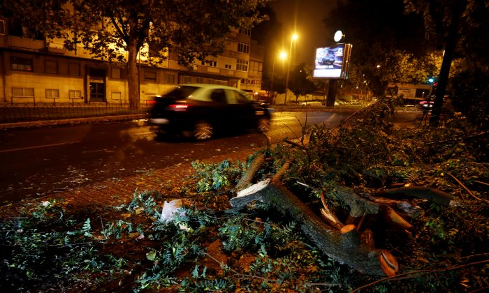 Branches of trees are seen on a street at Benfica neigborhood as hurricane Leslie goes past in Lisbon, Portugal, on Oct. 14, 2018. (Rafael Marchante/Reuters)