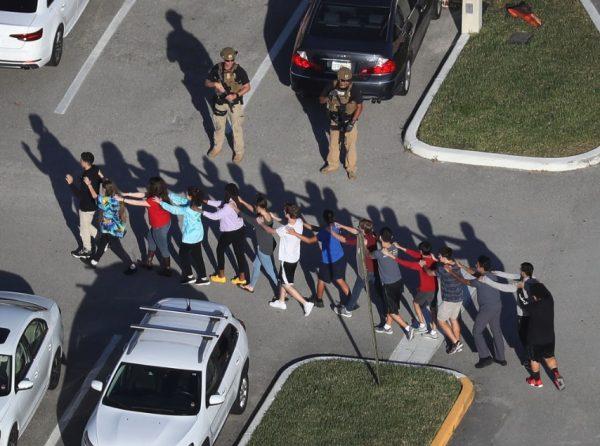 Parkland Stoneman Douglas shooting students single file