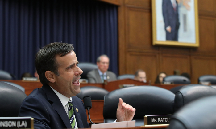 Rep. John Ratcliffe (R-TX), questions Deputy Assistant FBI Director Peter Strzok during a joint committee hearing of the House Judiciary and Oversight and Government Reform committees in the Rayburn House Office Building on Capitol Hill in Washington on July 12, 2018. (Mark Wilson/Getty Images)