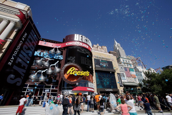 The Las Vegas Strip became a whole lot sweeter as the new Hershey's Chocolate World retail experience opened at New York-New York Hotel & Casino on June 3, 2014 in Las Vegas, Nevada. (Isaac Brekken/Getty Images for Hershey's Chocolate World)