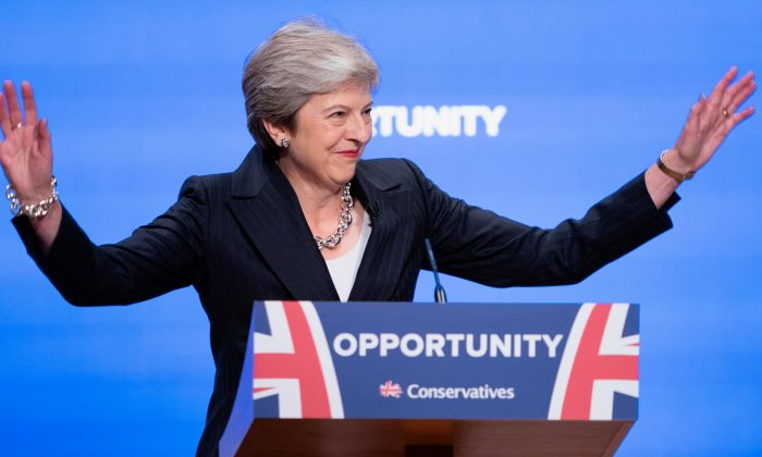 British Prime Minister Theresa May delivers her leader's speech during the final day of the Conservative Party Conference at The International Convention Centre in Birmingham, England, on Oct. 3, 2018. (Christopher Furlong/Getty Images)