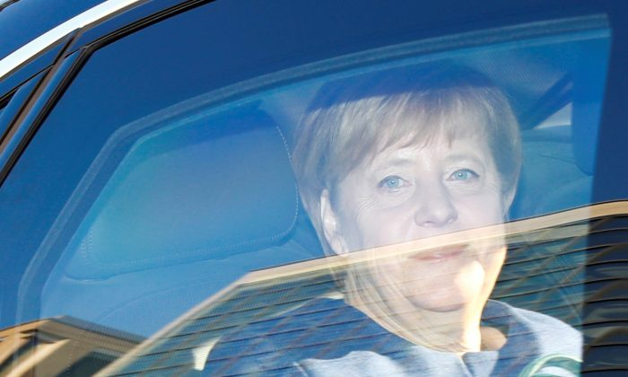 Christian Democratic Union party leader and German Chancellor Angela Merkel arrives at the CDU party headquarters in Berlin, Germany, on Oct. 15, 2018. (Fabrizio Bensch/Reuters)