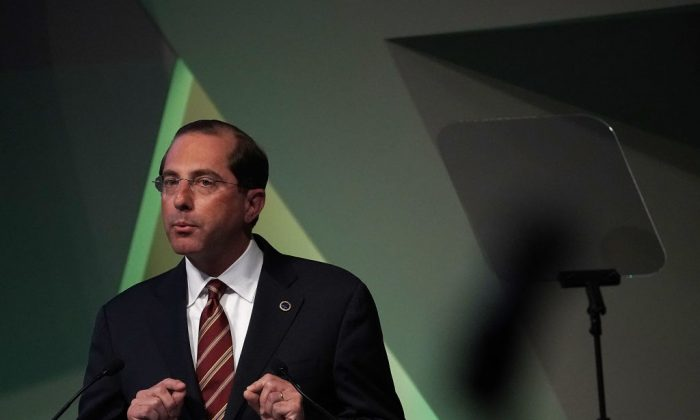 Secretary of Health and Human Services Alex Azar speaks on prescription drug prices during the 2018 National Academy of Medicine Annual Meeting at the National Academy of Sciences in Washington on Oct. 15, 2018. (Alex Wong/Getty Images)