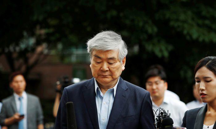Korean Air Lines Chairman Cho Yang-ho arrives at a court in Seoul, South Korea, on July 5, 2018. (Kim Hong-Ji/Reuters)