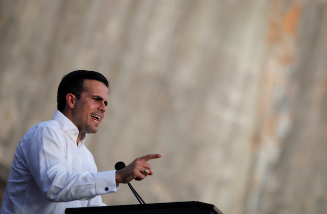 Governor of Puerto Rico Ricardo Rossello delivers remarks during a commemorative event organized by the local government a year after Hurricane Maria devastated Puerto Rico, in San Juan, Puerto Rico Sept. 20, 2018. (Reuters/Carlos Barria)