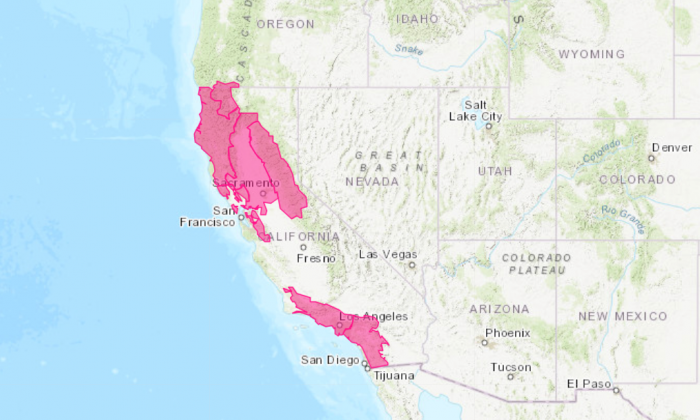 Extremely critical fire weather threats were in effect for California on Oct 15. Unseasonably warm temperatures, very dry fuels and low humidity are contributing to the threats, but the main concern is very strong Santa Ana winds.(National Weather Service)
