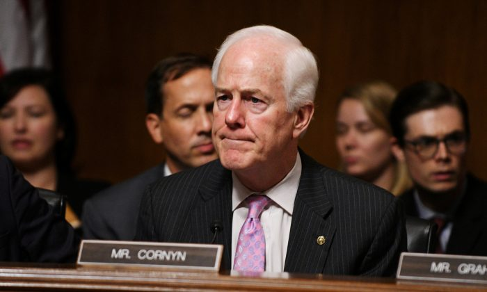Sen. John Cornyn (R-Texas) during a Senate Judiciary Committee meeting in Washington, on Sept. 28, 2018.  (Mary F. Calvert/Reuters)