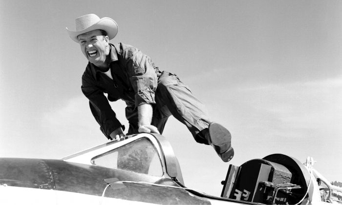 """NACA High-Speed Flight Station test pilot Joseph Walker in 1955 transforms to """"Cowboy Joe"""" atop his steed—in this case the Bell Aircraft X-1A. (NASA)"""