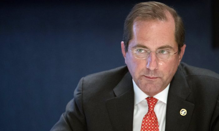 Human Services Secretary Alex Azar speaks during an interview with The Associated Press in New York. (AP Photo/Mary Altaffer)