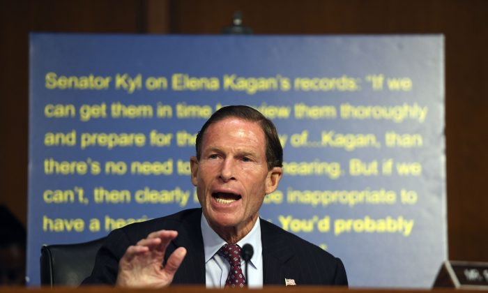 Sen. Richard Blumenthal speaks on the first day of U.S. Supreme Court nominee Brett Kavanaugh's confirmation hearing in front of the U.S. Senate on Capitol Hill in Washington D.C., on Sept. 4, 2018. (Saul Loeb/AFP/Getty Images)