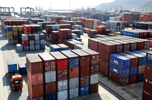 Shipping containers at a port in Lianyungang, Jiangsu Province, China on Sept. 8, 2018. (Reuters)