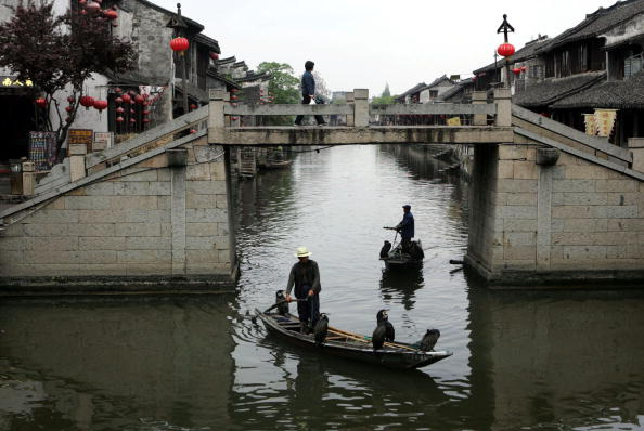 Fishermen carrying cormorants catch fish at a river on April 23, 2005 in Xitang Town of Jiashan County, Zhejiang Province, China. (Getty Images)