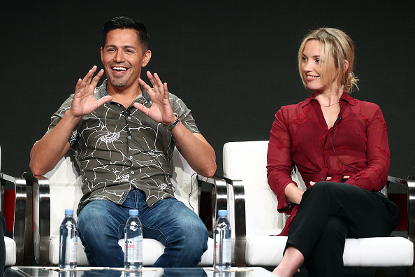 """Actor Jay Hernandez (L) and actress Perdita Weeks of the television show """"Magnum P.I"""" speak during the CBS segment of the Summer 2018 Summer Television Critics Association Press Tour at Beverly Hilton Hotel on August 5, 2018 in Beverly Hills, California. (Frederick M. Brown/Getty Images)"""