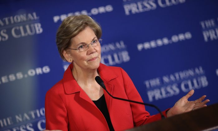 Sen. Elizabeth Warren (D-Mass.) speaks at the National Press Club in Washington on Aug. 21, 2018. (Win McNamee/Getty Images)