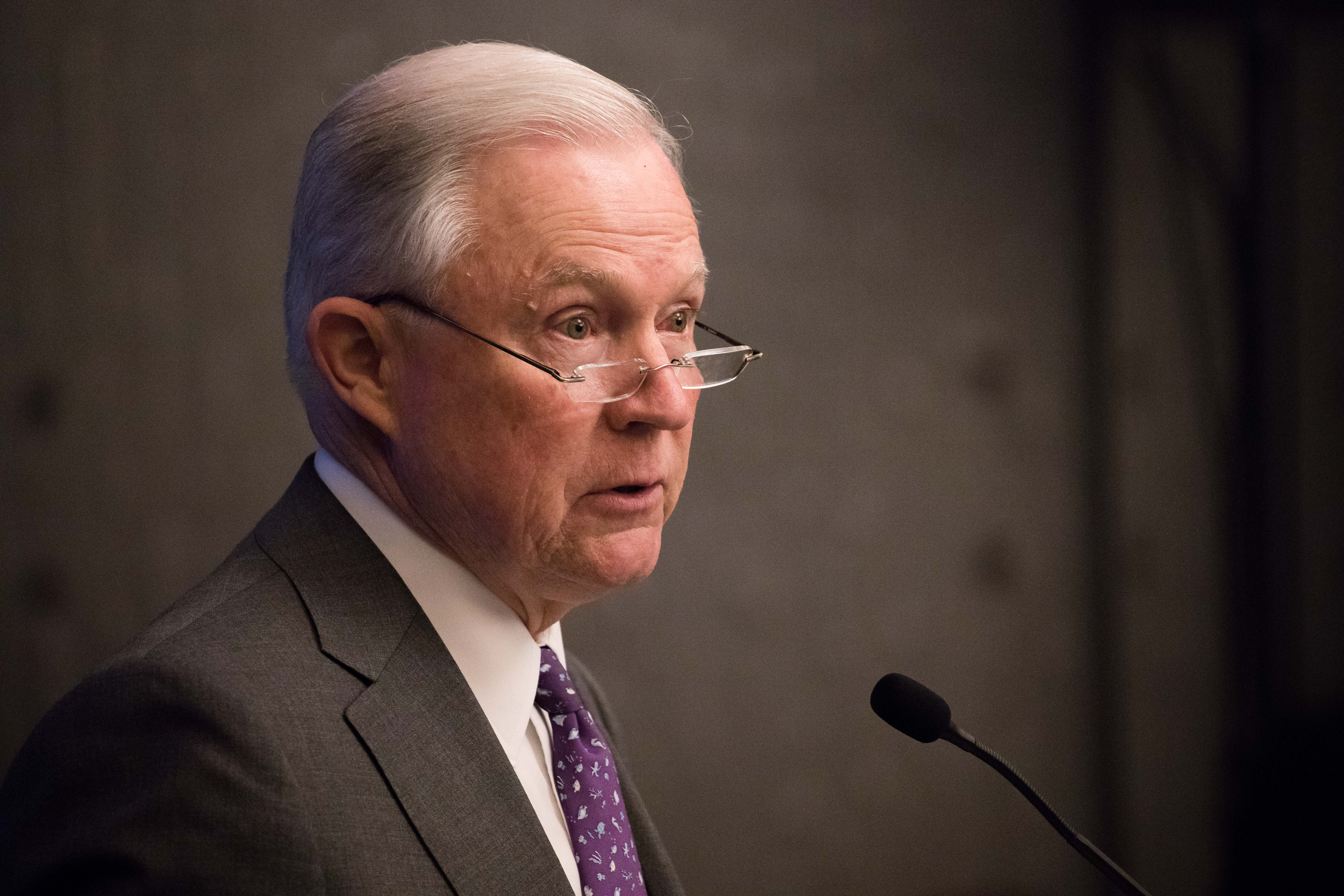 Attorney General Jeff Sessions speaks at the 2018 Opioid Roundtable hosted by the National Sheriffs Association and the Daniel Morgan Graduate School of National Security, in Washington