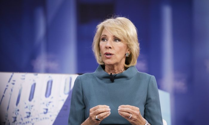 Secretary of Education Betsy DeVos speaks during CPAC 2018 in National Harbor, Md., on Feb. 22, 2018. (Samira Bouaou/The Epoch Times)