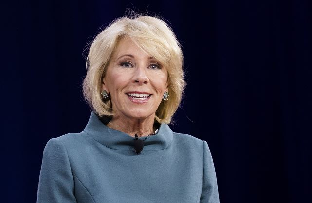 Secretary of Education Betsy DeVos speaks during CPAC 2018 in National Harbor, Md., on Feb. 22, 2018. In a recent press release, DeVos proposed new rules regarding how alleged sexual assaults on college campuses are handled. (Samira Bouaou/The Epoch Times)