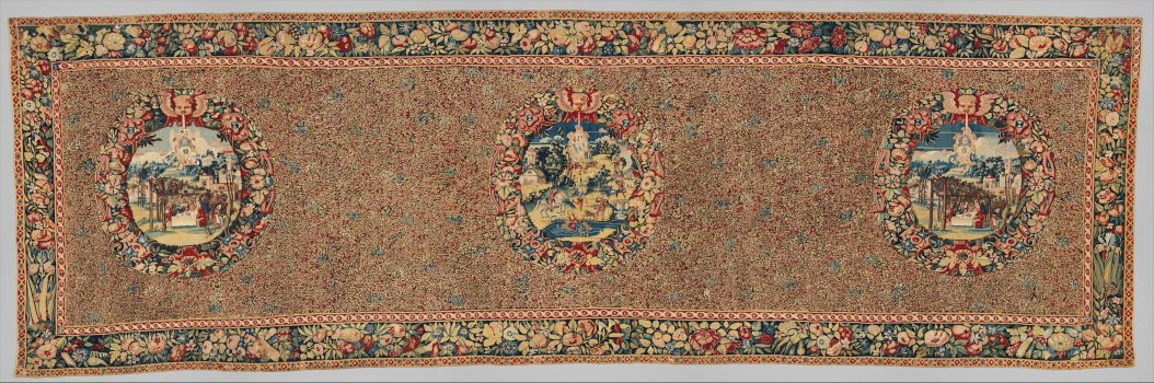 Mille-fleurs tapestry with three medallions