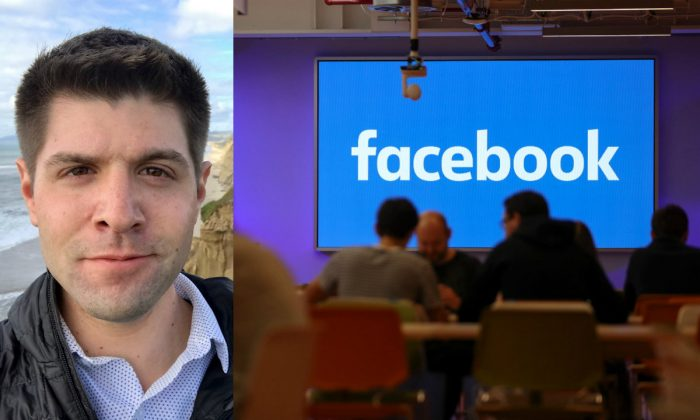(L) Former Facebook engineer Brian Amerige; (R) Employees have lunch at the canteen at Facebook's new headquarters in central London on Dec. 4, 2017. (Courtesy of Brian Amerige; Daniel Leal-Olivas/AFP/Getty Images)