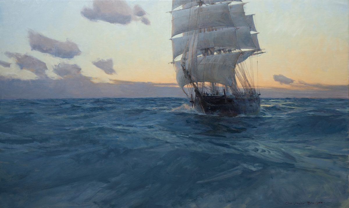 """""""Medium Clipper 'Black Hawk' at Dawn,"""" 2018, by Christopher Blossom. Oil on linen, 22 inches by 36 inches. (Courtesy of Tim Newton)"""