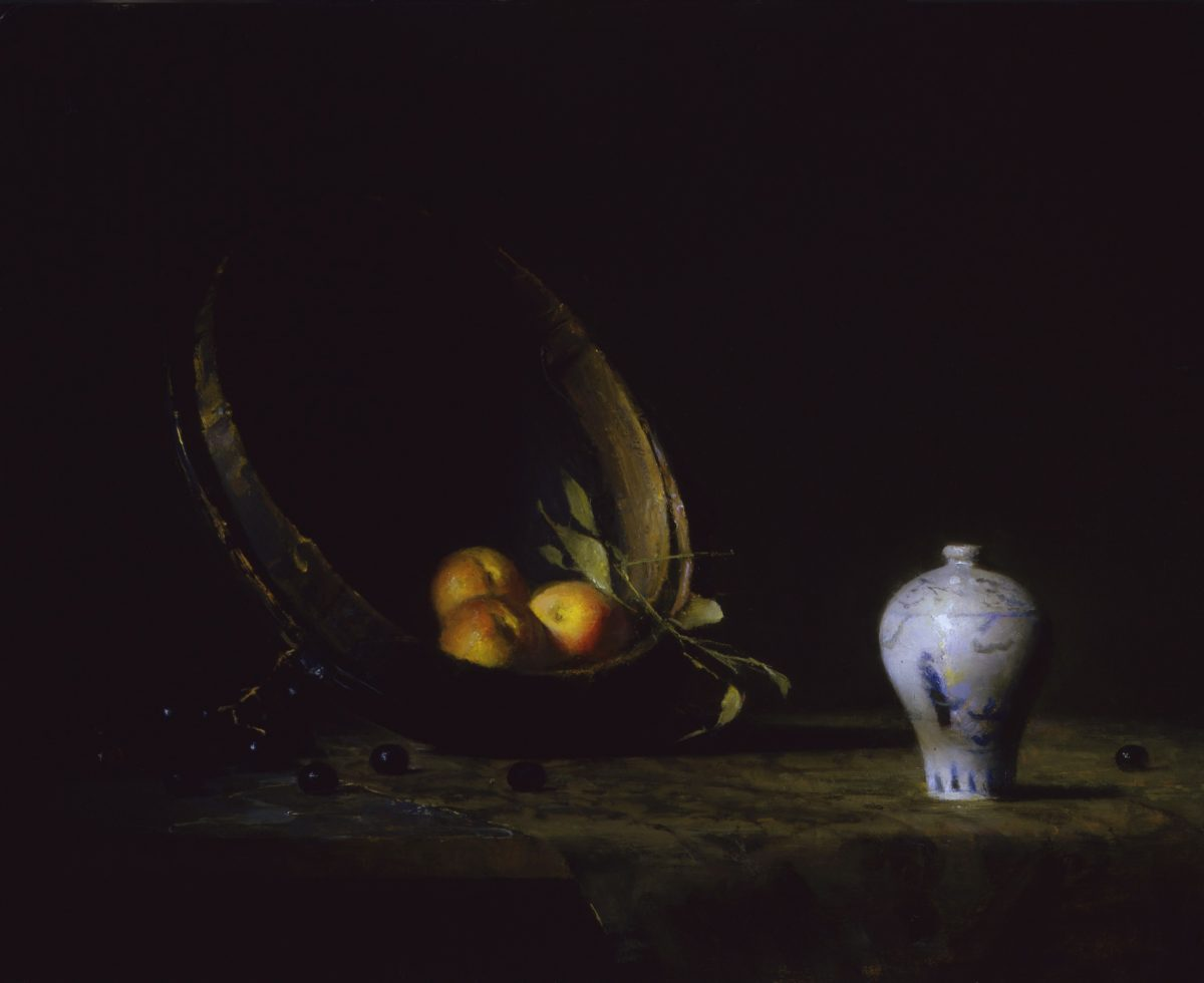 """""""Landscape with Peaches and White Vase,"""" 2010, by David A. Leffel. Oil on board, 13 1/2 inches by 17 inches. (Courtesy of Tim Newton)"""