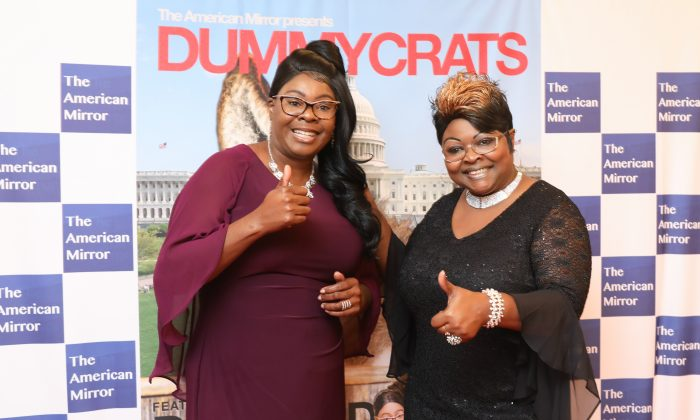 Lynnette Hardaway (L) and Rochelle Richardson, known as Diamond and Silk, at the premiere of the Dummycrats film at the Trump International Hotel Washington on Oct. 15, 2018. (Samira Bouaou/The Epoch Times)