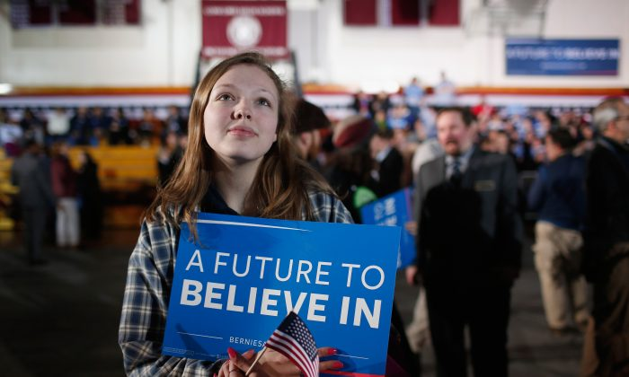A Bernie Sanders supporter at the candidate's New Hampshire Primary Night watch party on Feb 9, 2016. (Win McNamee/Getty Images)
