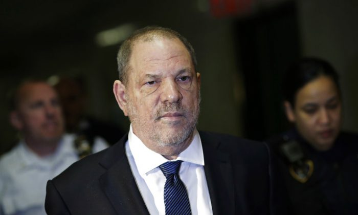 Harvey Weinstein enters State Supreme Court in New York, N.Y. on Oct. 11, 2018 (AP Photo/Mark Lennihan)