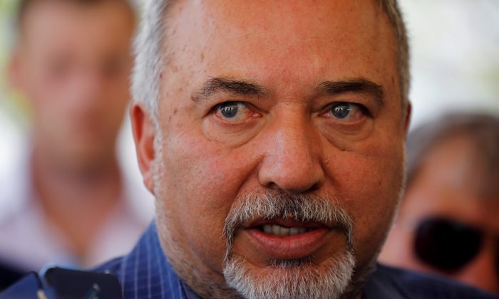 Israeli defense minister Avigdor Lieberman visits the Israeli side of the Israel-Gaza border on July 20, 2018. (Amir Cohen/File Photo/Reuters)