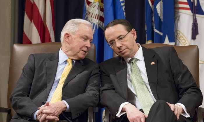 Attorney General Jeff Sessions (L) and Deputy Attorney General Rod Rosenstein at the Department of Justice on Feb. 2, 2018. (Samira Bouaou/The Epoch Times)