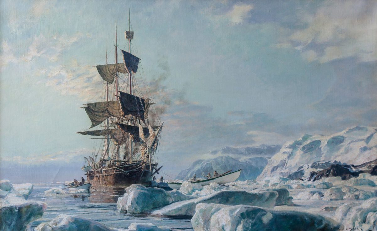 """""""Whaling Bark Charles W. Morgan,"""" 1971, by John Stobart. oil, 24 inches by 38 inches. (Courtesy of Tim Newton)"""