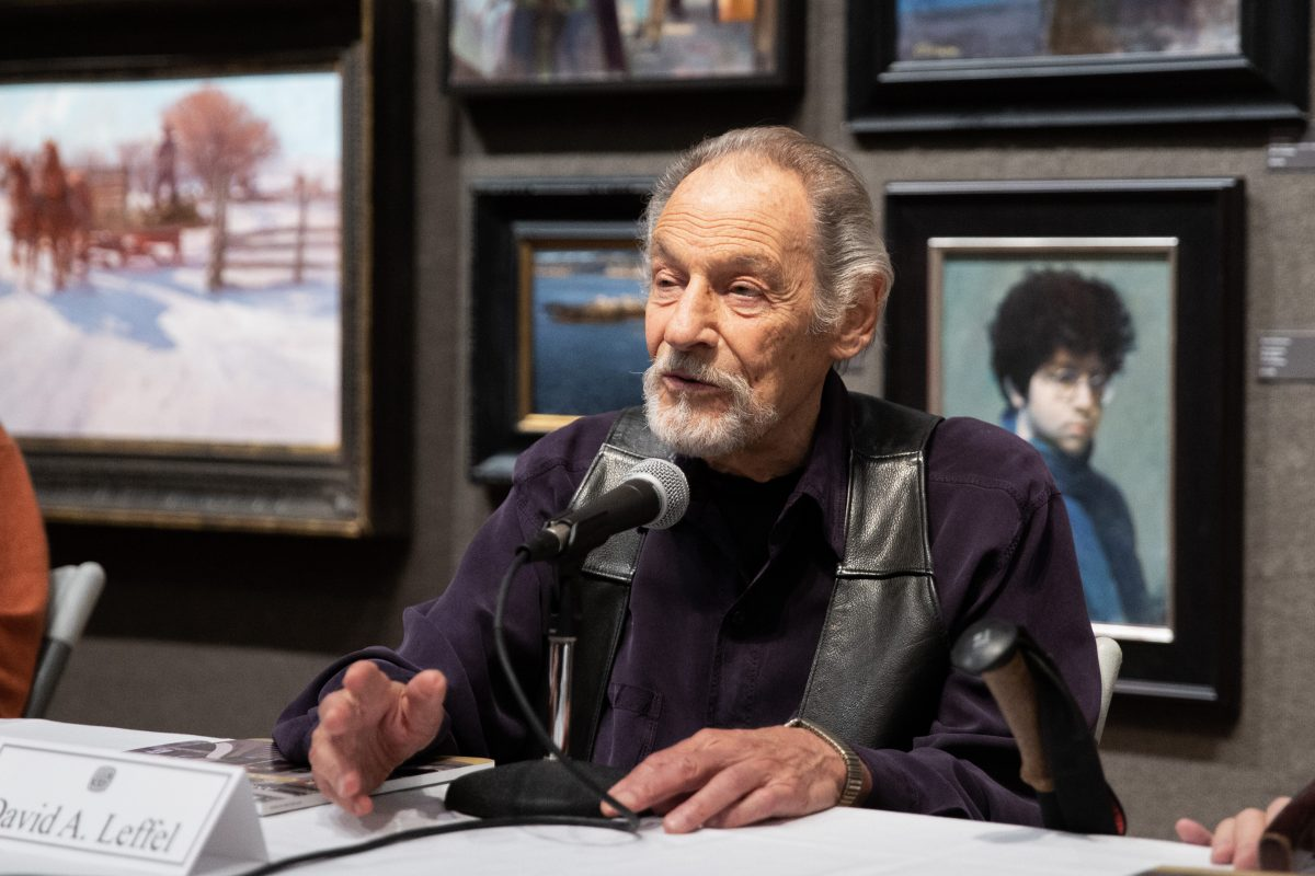 Artist, David A. Leffel speaks at a panel discussion as part of the Living Legends Live event during the 10th American Masters at the Salmagundi Club on October 13, 2018. (Milene Fernandez/The Epoch Times)