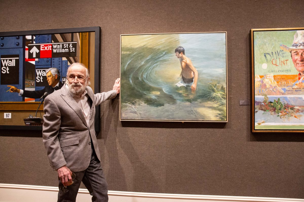 """Artist Burton Silverman poses for a photo with his painting, """"Waterhole,"""" 2018, oil on linen, 36 inches by 42 inches, at the Salmagundi Club on October 13, 2018. (Milene Fernandez/The Epoch Times)"""