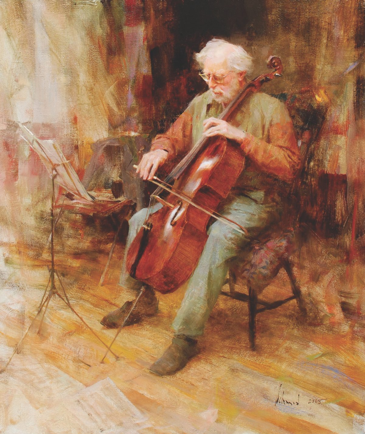 """""""David Wells, Cellist,"""" 2005, by Richard Schmid. Oil on canvas, 26 inches by 22 inches. (Courtesy of Tim Newton)"""
