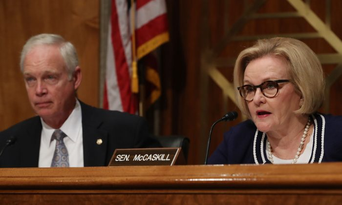 Sen. Claire McCaskill speaks during a Senate Homeland Security and Governmental Affairs Committee hearing on Capitol Hill on Oct. 10, 2018. (Mark Wilson/Getty Images)