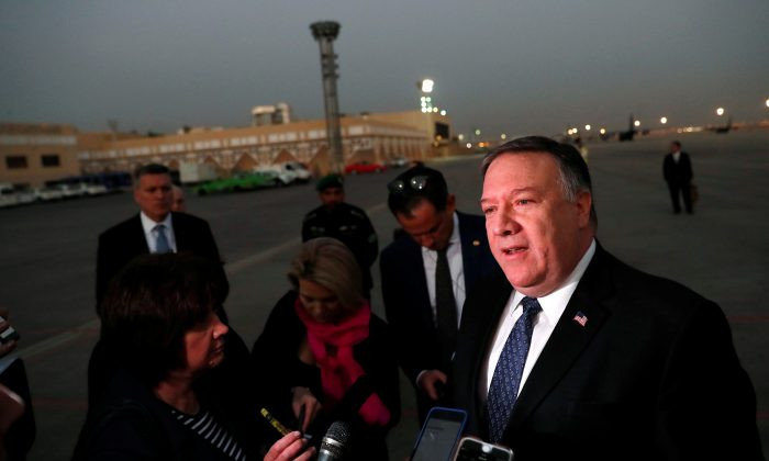 U.S. Secretary of State Mike Pompeo talks to the media before leaving Riyadh, Saudi Arabia, on Oct. 17, 2018. (Leah Millis/Reuters)