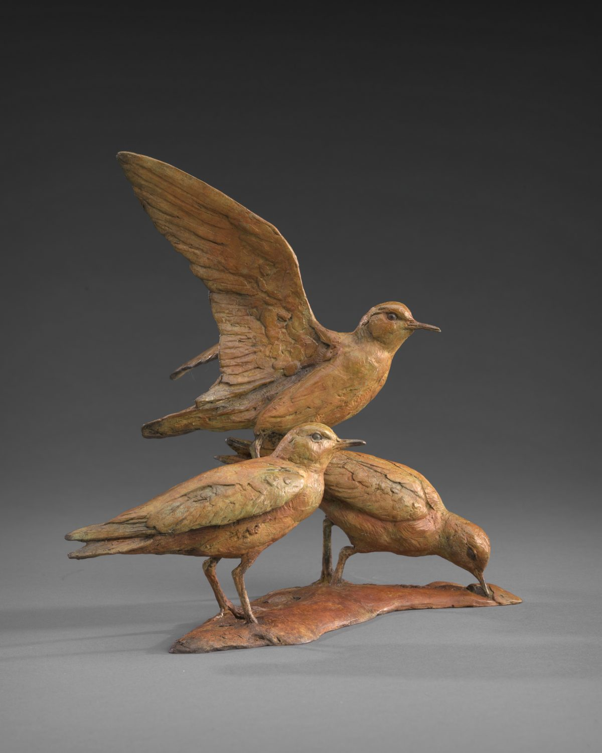 """""""Life is a Beach and then You Fly (Sandpipers)"""" by Walter Matia, Bronze Edition 12/24, 9.5 by 10 by 9 inches. (Courtesy of Tim Newton)"""