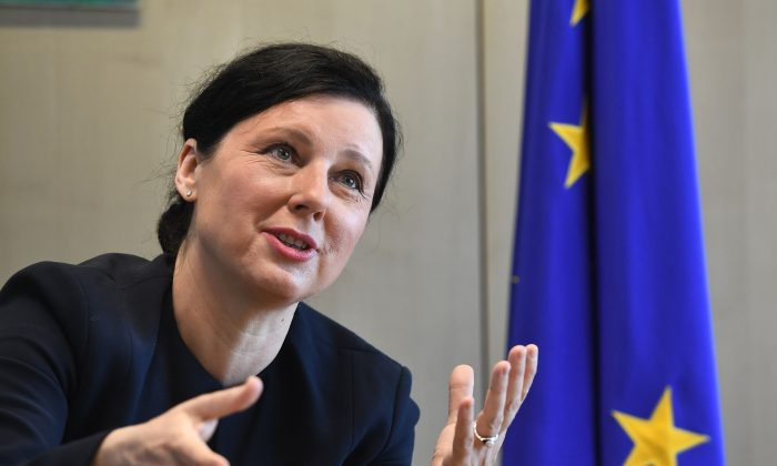 European Commissioner for Justice Věra Jourová at the European Commission in Brussels on May 7, 2018. (Emmanuel Dunand/AFP/Getty Images)