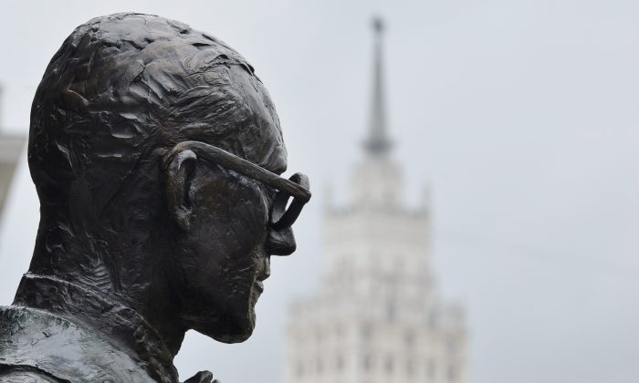 A monument to Swiss-French architect Charles-Edouard Jeanneret, better known as Le Corbusier, is pictured in central Moscow on Oct. 15, 2015. Le Corbusier is one of the founders of modern architecture. English philosopher Roger Scruton has argued that modern buildings are designed with a megalomanic zeal, an example of economist Thomas Sowell's idea of unconstrained vision. (Natalia Kolesnikova/AFP/Getty Images)
