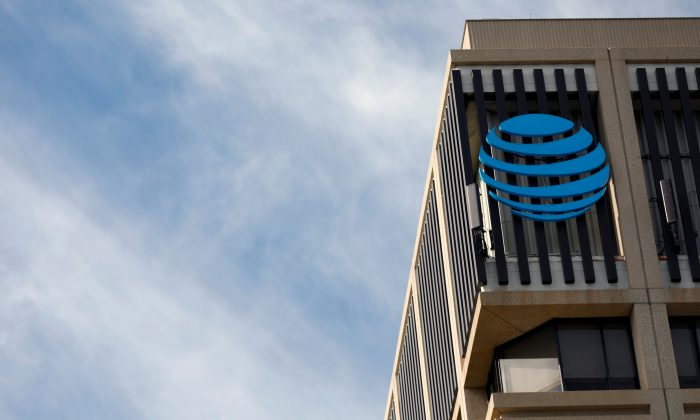 An AT&T logo is pictured in Pasadena, California, U.S., January 24, 2018.    Mario Anzuoni/Reuters