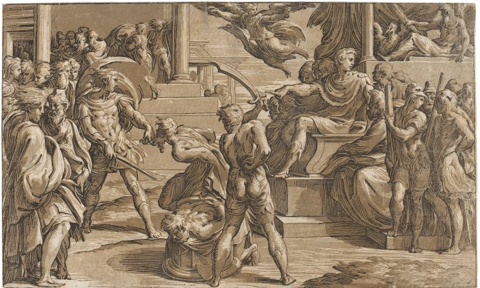 """Martyrdom of Two Saints,"" circa 1527–1530, by Antonio da Trento, after Parmigianino. Chiaroscuro woodcut from three blocks in light gray-brown, medium gray-brown, and black, state i/ii, 11 1/2 inches by 19 inches. Gift of Ruth Cole Kainen. (National Gallery of Art)"