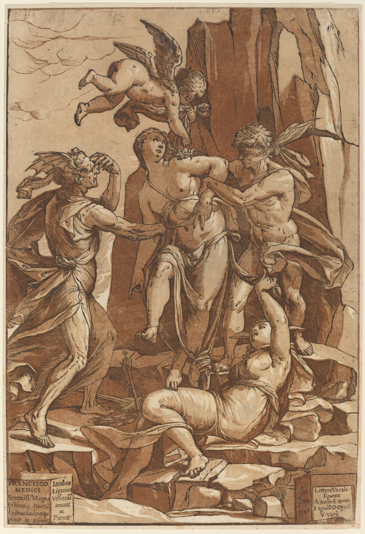 Virute, woman being pulled in all directions, tempted by angels and creatures. Chiaroscuro print in brown.