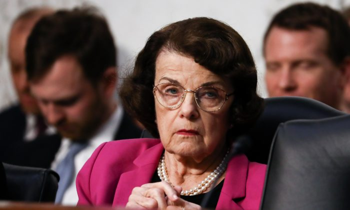 Ranking member Sen. Dianne Feinstein (D-CA) during Judge Brett M. Kavanaugh confirmation hearing before the Senate Judiciary Committee to serve as Associate Justice on the U.S. Supreme Court at the Capitol in Washington on Sept. 4, 2018. (Samira Bouaou/The Epoch Times)