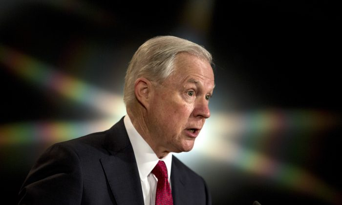 Atorney General Jeff Sessions at the Justice Department on Feb. 28, 2017. (Zach Gibson/Getty Images)